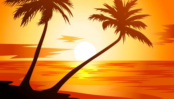 逼真的海滩日落景观矢量素材(AI/EPS)
