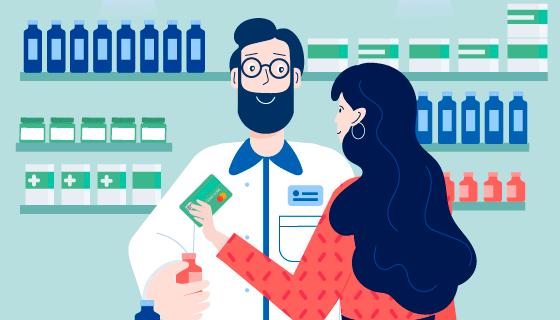 扁平风格药剂师与客户矢量素材(AI/EPS)