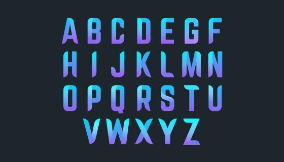 创意蓝色渐变字母矢量素材(AI/EPS/PNG)