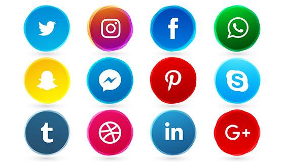 16个圆形社会化图标矢量素材(EPS)