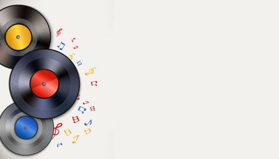 黑胶唱片背景矢量素材(EPS)