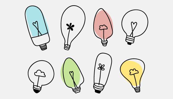 涂鸦风格灯泡矢量素材(EPS/PNG)