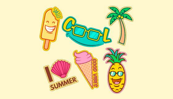 可爱的夏季元素贴纸矢量素材(AI/EPS/PNG)