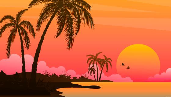 渐变海滩日落景观矢量素材(AI/EPS)