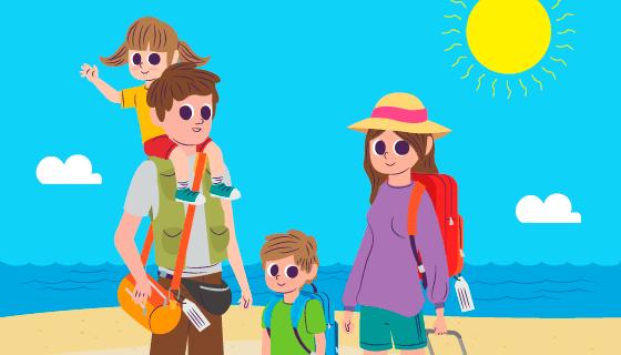 扁平风格一家人旅行矢量素材(AI/EPS/PNG)