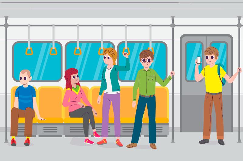 乘地铁的人们矢量素材(AI/EPS)