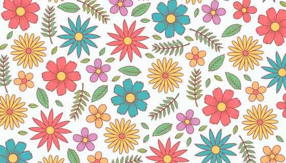 手绘多彩花卉图案背景矢量素材(AI/EPS/PNG)