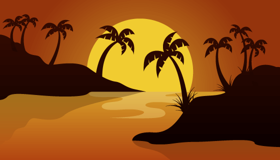 夏日落日景观背景矢量素材(AI/EPS)