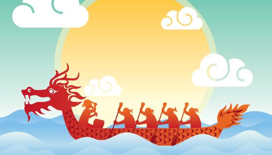 赛龙舟端午节背景矢量素材(EPS/SVG)