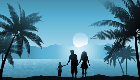 一家人傍晚沙滩散步矢量素材(EPS)