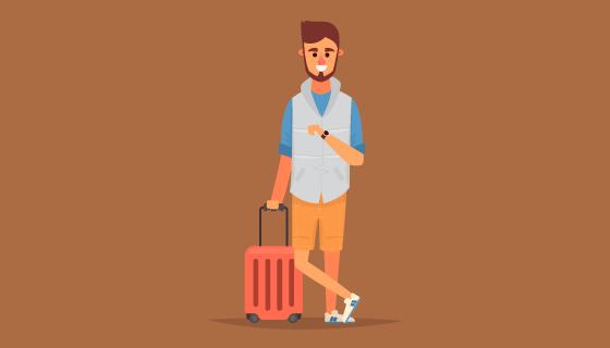 扁平风格旅行的男子矢量素材(AI/EPS)
