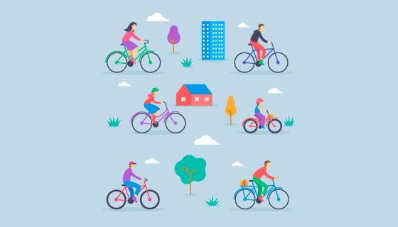 公园里骑自行车的人们矢量素材(AI/EPS/PNG)