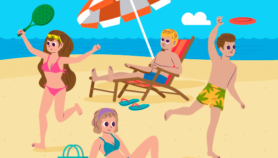 沙滩上享受夏天的人们矢量素材(AI/EPS)