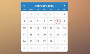 蓝色简洁的日历PSD源文件