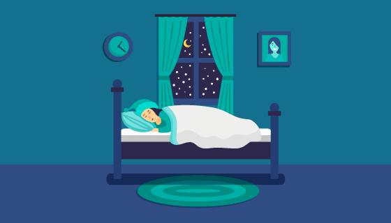 夜晚熟睡的人矢量素材(AI/EPS)