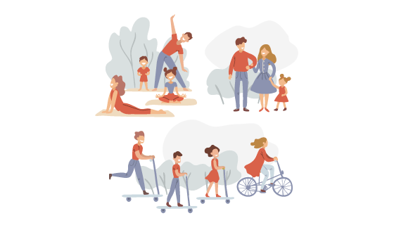 公园里活动的人们矢量素材(AI/EPS/PNG)