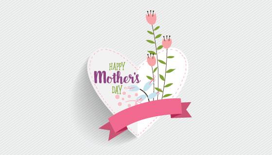 母亲节心形卡片矢量素材(EPS)