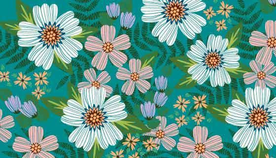 多彩装饰刺绣花卉背景矢量素材(AI/EPS)