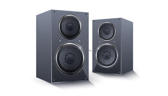 逼真的黑色扬声器矢量素材(AI/EPS)