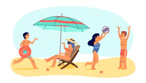 尽情享受夏天的人们矢量素材(AI/EPS/PNG)