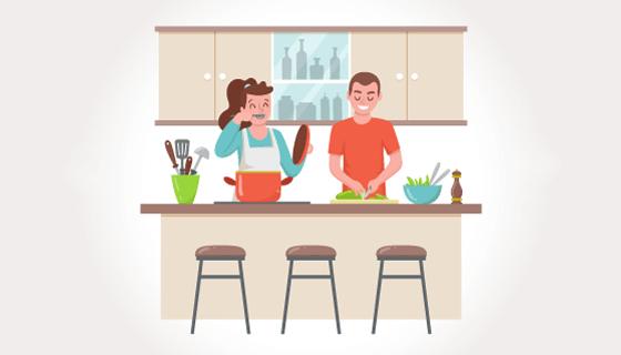 手绘夫妻厨房做饭矢量素材(AI/EPS/PNG)