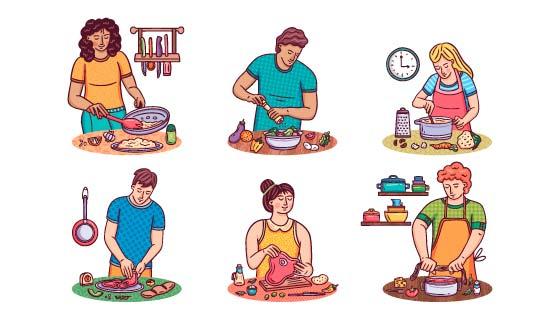 厨房里做饭的人们矢量素材(AI/EPS/PNG)