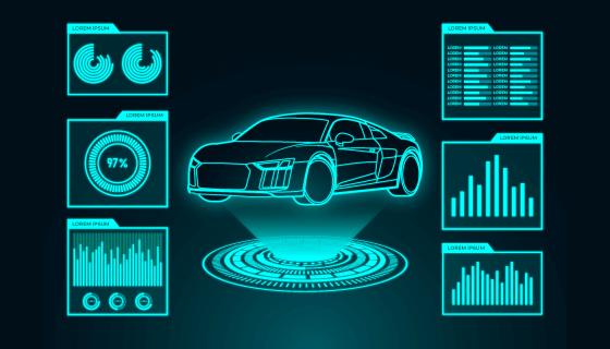 未来感的汽车全息图矢量素材(AI)