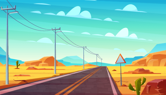 卡通风格空旷的公路矢量素材(EPS)
