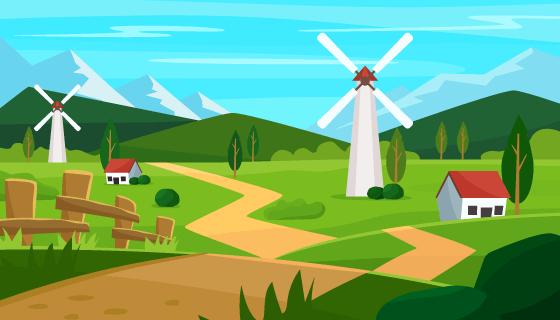 扁平风格农场景观矢量素材(AI/EPS)