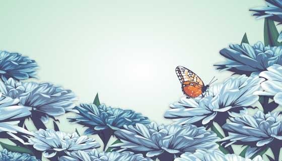 逼真的花卉蝴蝶背景矢量素材(AI/EPS)