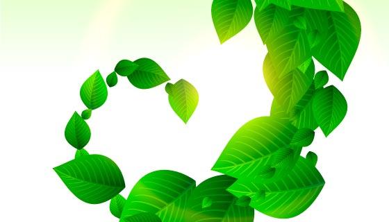 旋绕的绿叶背景矢量素材(EPS)