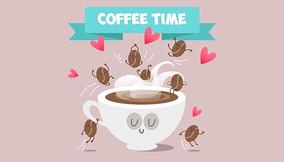 卡通咖啡时间矢量素材(EPS)