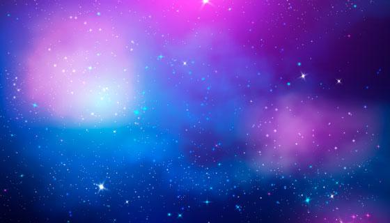 紫色神秘银河背景矢量素材(AI/EPS)