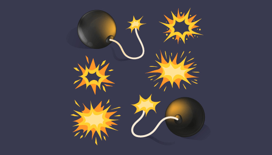卡通风格炸弹爆炸效果矢量素材(AI/EPS/PNG)