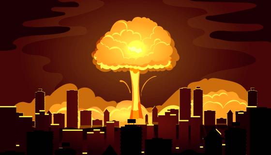 核弹在城市中心爆炸效果矢量素材(AI/EPS)