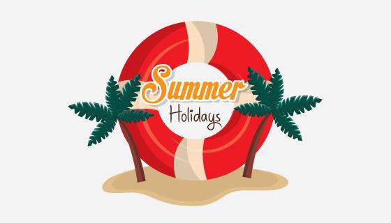 红色游泳圈设计夏季节日矢量素材(EPS/PNG)