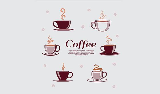 6款杯子与热咖啡矢量素材(EPS/AI)