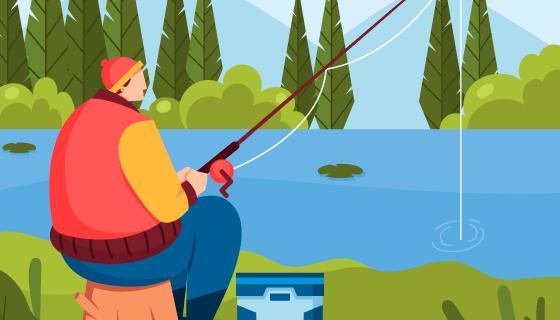 湖边钓鱼的男子矢量素材(AI/EPS)
