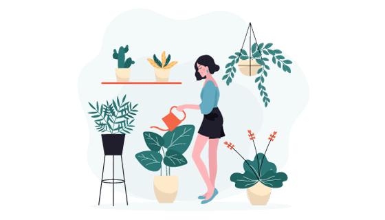 给盆栽浇水的女子矢量素材(AI/EPS/PNG)
