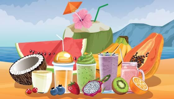 夏天海滩美味水果矢量素材(EPS)