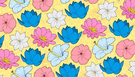 彩色手绘花卉背景矢量素材(AI/EPS)