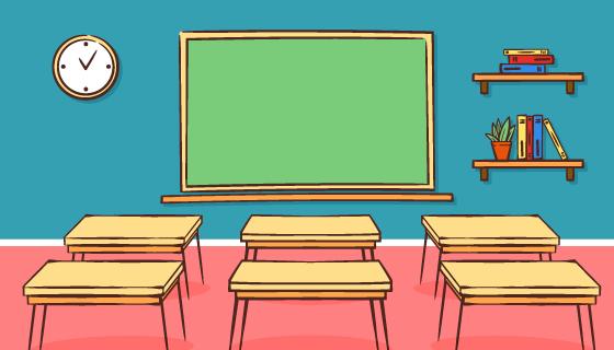 手绘教室设计开学季矢量素材(ai/eps)