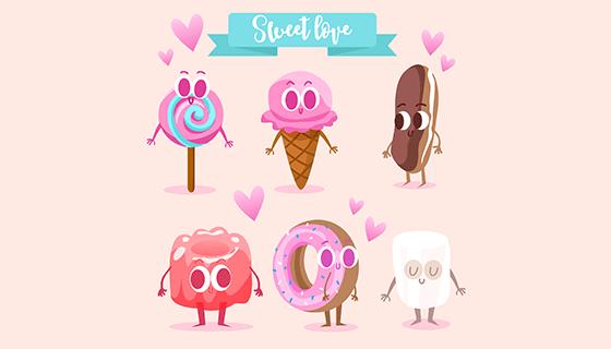 6款甜品人物矢量素材(EPS)