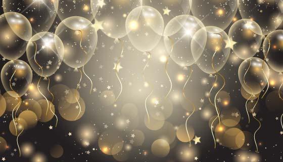 金色气球喜庆背景矢量素材(EPS)