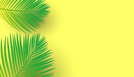 棕榈树树叶亮黄色背景矢量素材(EPS)