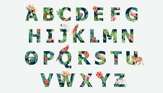 热带动物装饰的字母矢量素材(EPS)