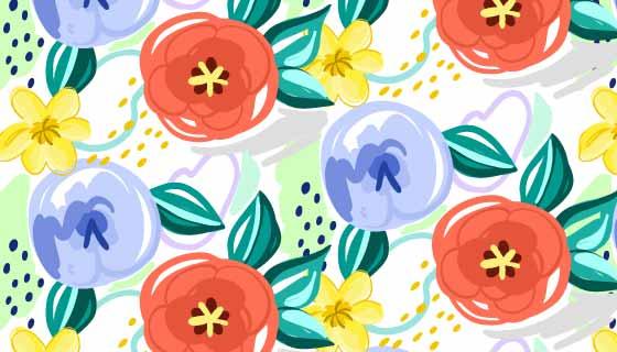 抽象彩绘花卉背景矢量素材(AI/EPS)