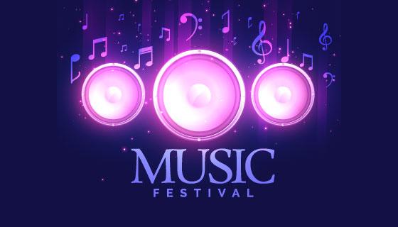 扬声器设计音乐节传单模板矢量素材(EPS)
