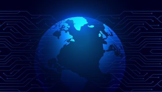 蓝色地球科技背景矢量素材(EPS)