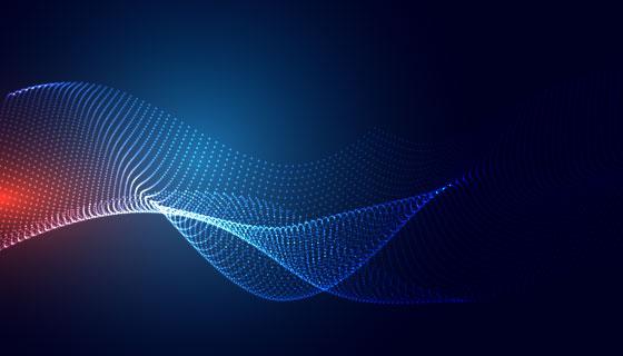 蓝色粒子波浪科技背景矢量素材(EPS)